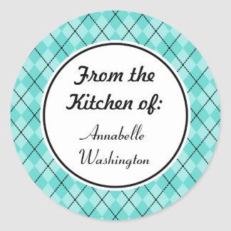 Personalized Aqua Kitchen Baking Gift Tag Stickers