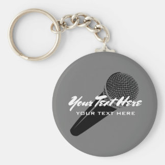 Personalized audio mic microphone icon keychain