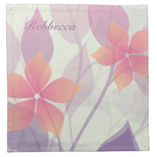 Personalized Autumn Flowers and Leaves on Green Napkin