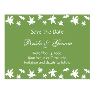 Personalized Autumn Leaves Save the Date Postcard