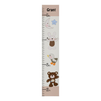 Personalized B is for Bear/Teddy Bear Growth Chart