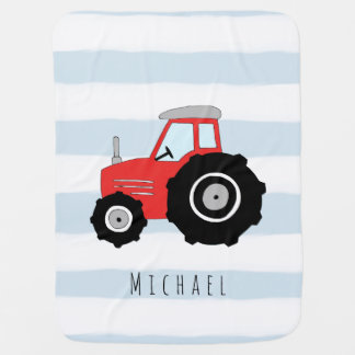 Personalized Baby Boy Doodle Tractor Farmer Name Baby Blanket