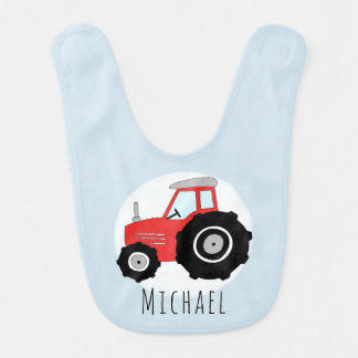 Personalized Baby Boy Red Farm Tractor with Name Bib