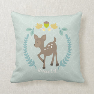 Personalized Baby Deer Wreath Pillow - Girl