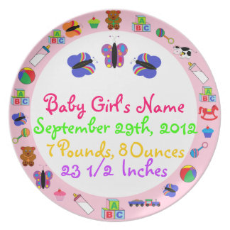 PERSONALIZED Baby Girl Birth Keepsake Plate