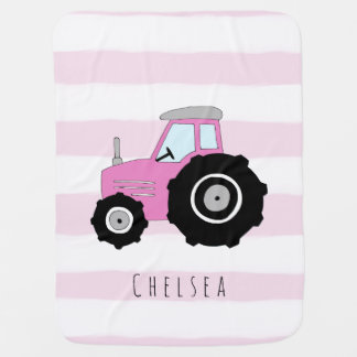 Personalized Baby Girl Doodle Tractor Farmer Name Baby Blanket