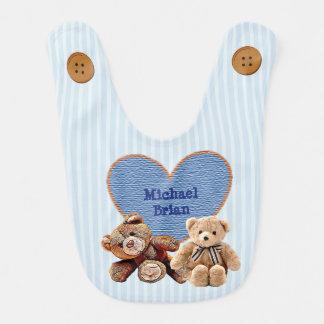 Personalized Baby Name in Heart Teddy Bears Bib