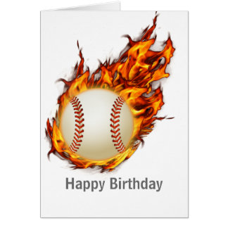 Personalized Baseball Ball on Fire Greeting Card