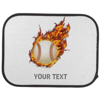 Personalized Baseball Ball on Fire mat Floor Mat