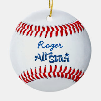 Personalized Baseball Player Gift Round Ceramic Decoration