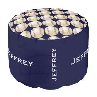 Personalized Baseball Pouf Cushion Seat Blue