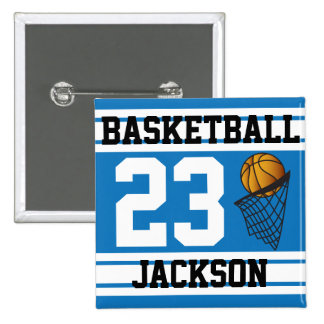 Personalized Basketball Blue and White Pin