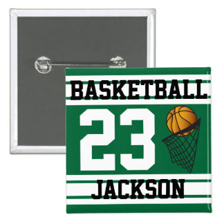 Personalized Basketball Dark Green and White Pin