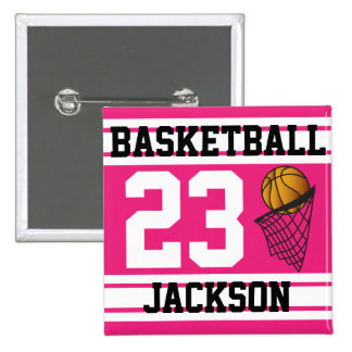 Personalized Basketball Pink and White Pins