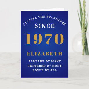 Personalized Birthday 1970  Add Your Name Blue Card
