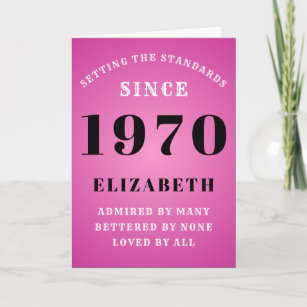 Personalized Birthday 1970 Pink Add Your Name Card