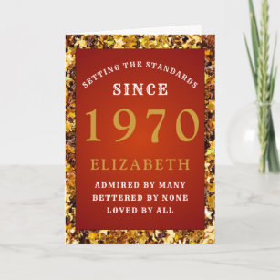 Personalized Birthday 1970 Red Gold Glitter Name Card