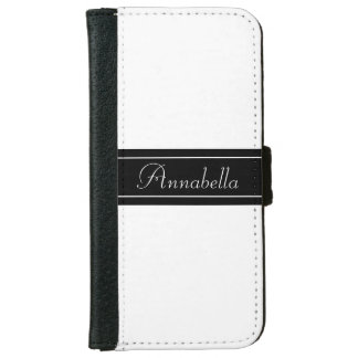 Personalized Black and White iPhone 6 Wallet Case