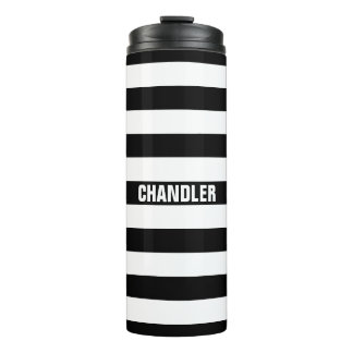 Personalized Black and White Striped Tumbler Thermal Tumbler
