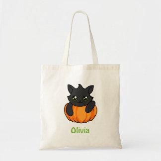 Personalized Black Cat Pumpkin Trick or Treat Bag
