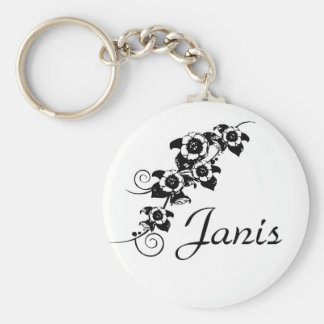 Personalized Black Flower Vine Key Chain