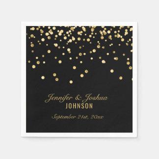 Personalized BLACK Gold Confetti Wedding | PARTY Paper Napkins