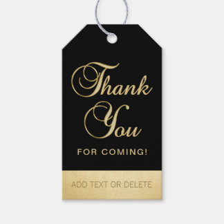 Personalized Black Gold THANK YOU FOR COMING favor Gift Tags