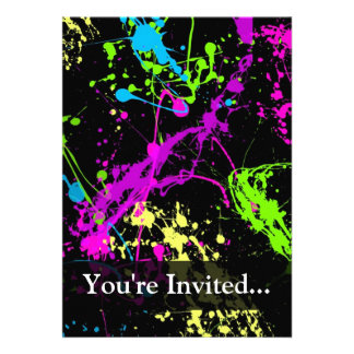 Personalized Black Neon Splatter Invite