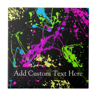 Personalized Black/Neon Splatter Tiles