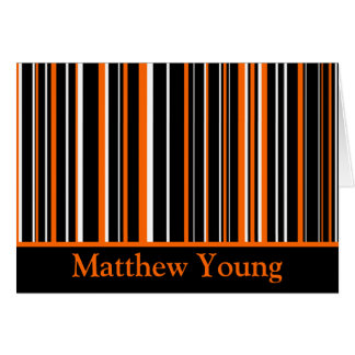 Personalized Black/Orange/White Striped Greeting Card
