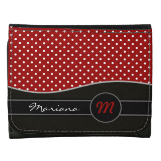 personalized black red polka dots idea leather wallet