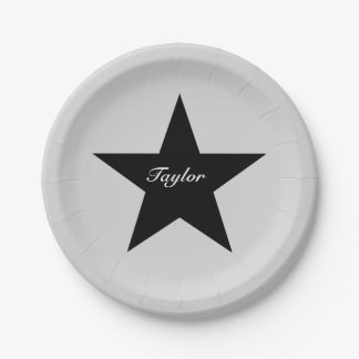 Personalized Black Star Paper Plate