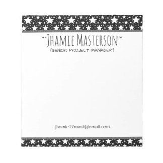 Personalized Black Stars Notepad