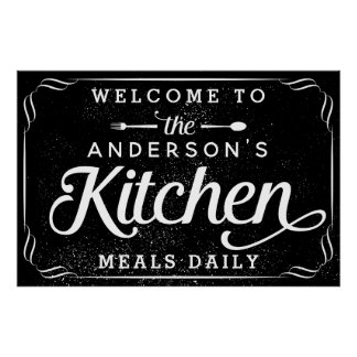 Personalized Black Welcome to the Kitchen Sign