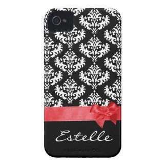 Personalized Black & white damask with red ribbon iPhone 4 Cover