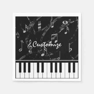 Personalized Black & White Piano Music Napkins Disposable Serviette