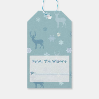 Personalized Blue Deer and Snowflakes Gift Tags