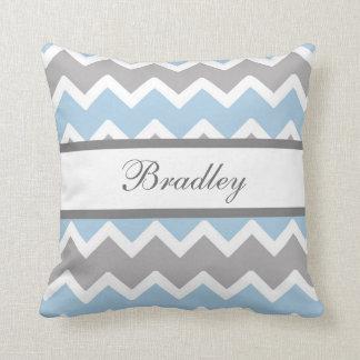 Personalized Blue Grey Gray Chevron Baby Boy Cushion