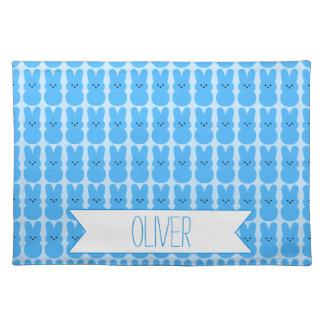 Personalized Blue Peeps Woven Cotton Placemat
