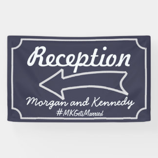 Personalized Blue Reception Direction Banner -Left