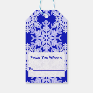 Personalized Blue Snowflake Pattern Gift Tags