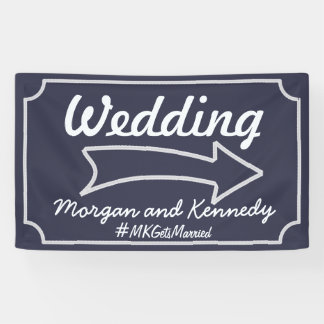 Personalized Blue Wedding Direction Banner - Right