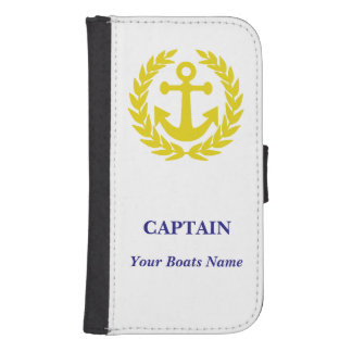 Personalized boat captains samsung s4 wallet case