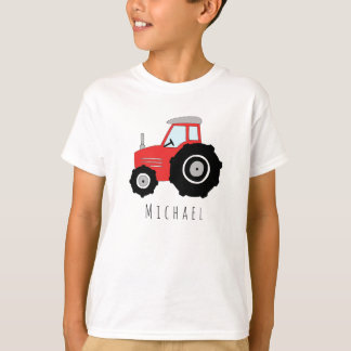 Personalized Boy's Red Farmer's Tractor with Name T-Shirt
