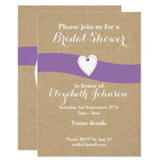 Personalized Bridal Shower purple kraft Card