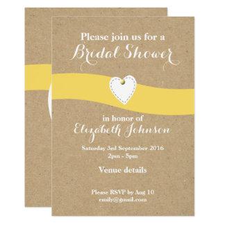 Personalized Bridal Shower yellow Kraft Card