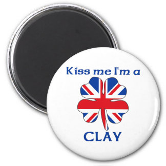 Personalized British Kiss Me I'm Clay Refrigerator Magnets