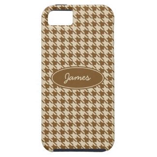 Personalized Brown Houndstooth iPhone 5 Case