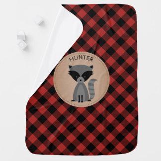 Personalized Buffalo Plaid Raccoon Blanket