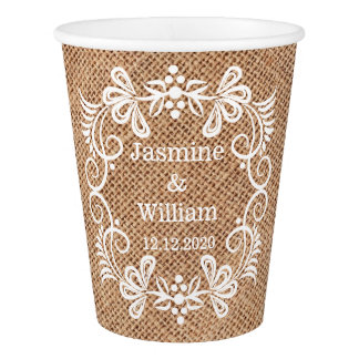 Personalized Burlap Rustic Wedding Paper Cup